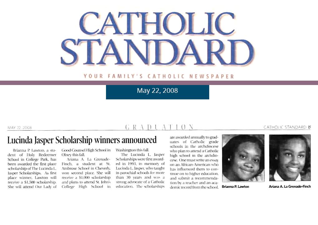 2008 Catholic Standard Article