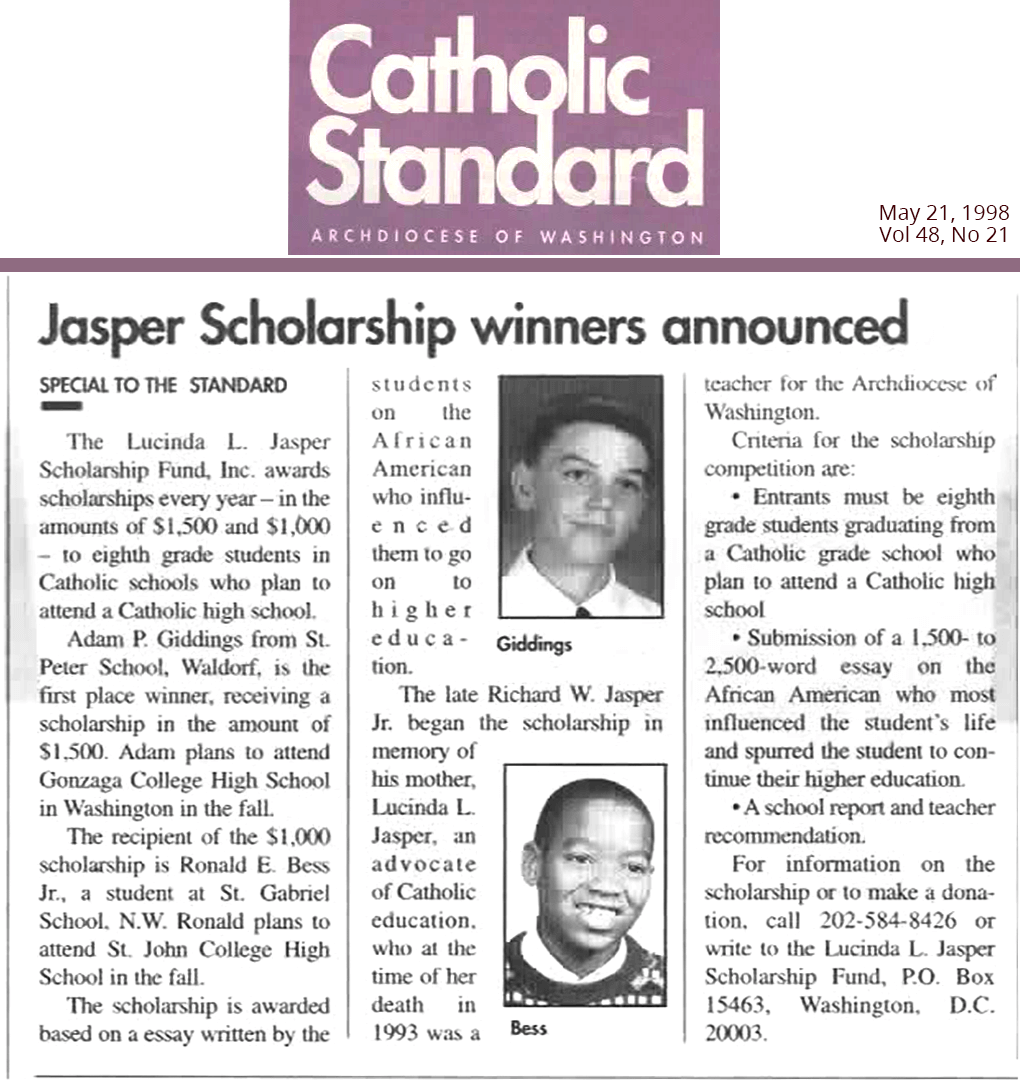 1998 Catholic Standard Article