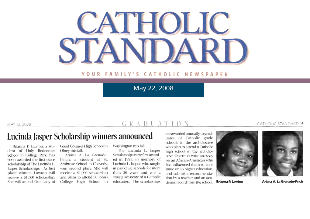 2008 Catholic Standard Article